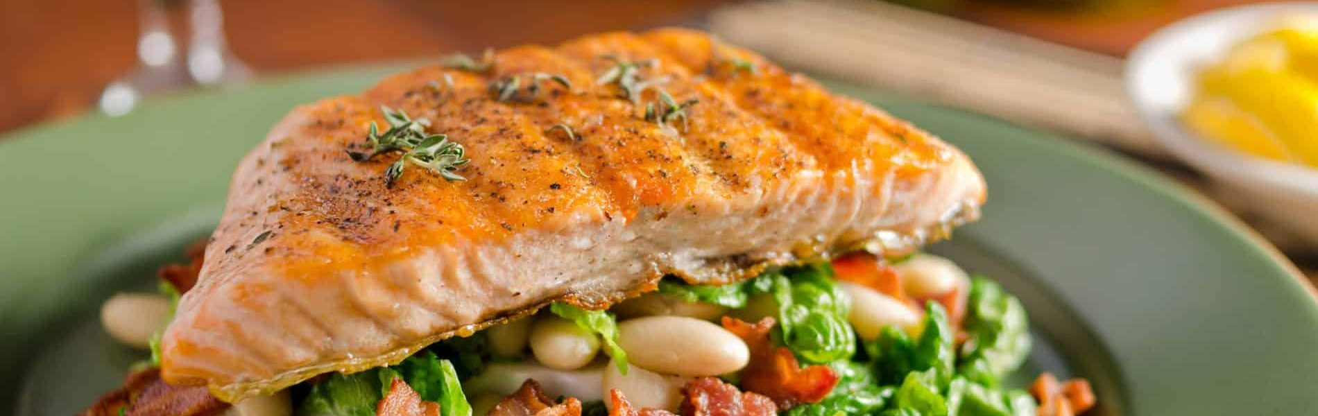 roasted pacific salmon and mexican bean salad