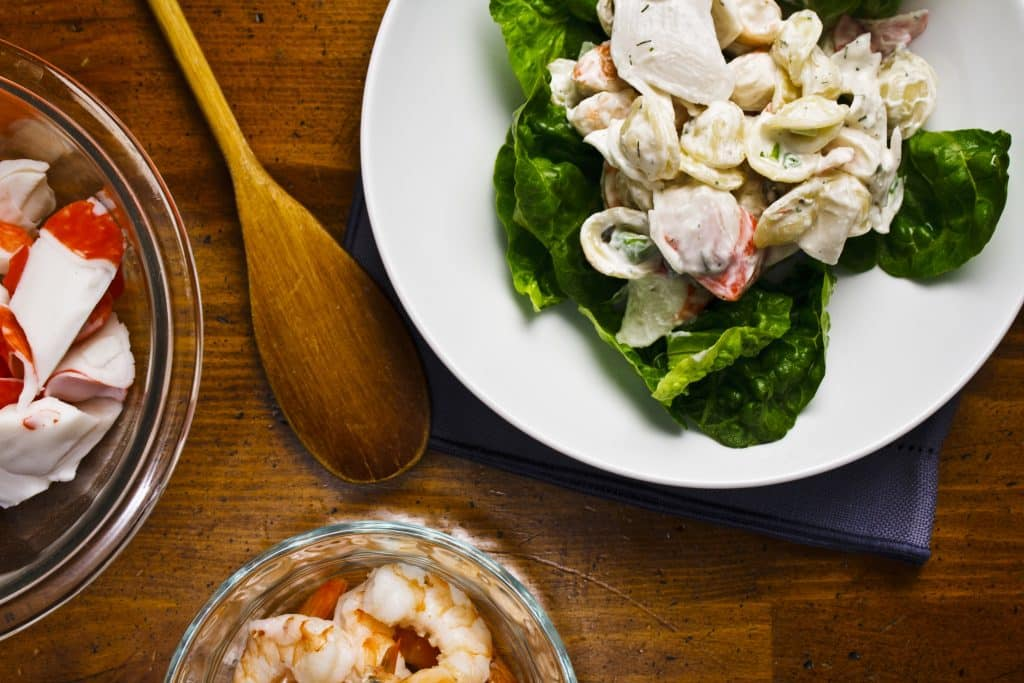 stir together seafood salad